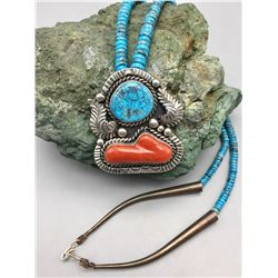 Vintage Turquoise, Coral and Sterling Silver Necklace