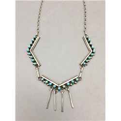 Fine, Zuni Turquoise and Sterling Silver Necklace