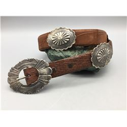 Sterling Silver and Alligator Concho Belt