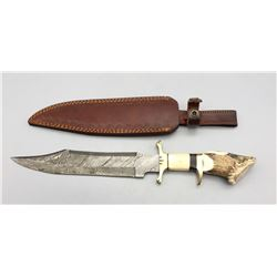 Bowie Style Knife with Antler Handle