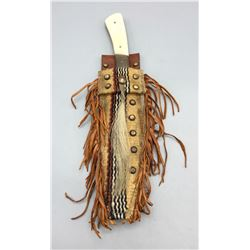 Bone Handled Knife with Fringed Sheath