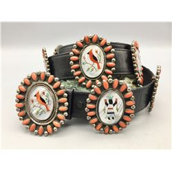 Coral Cabochon and Inlay Concho Belt