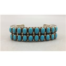 Two Row Sleeping Beauty Turquoise Bracelet