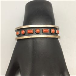 Seven Stone Coral and Sterling Bracelet