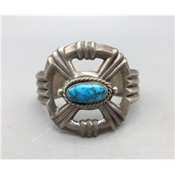 Nice Turquoise Sterling Silver Sandcast Bracelet