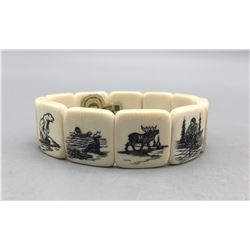 1970s Alaskan Eskimo Ivory Bracelet