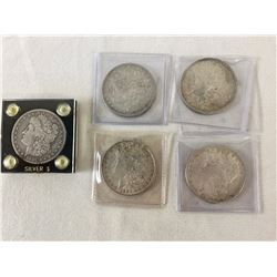 Group of Five Morgan Silver Dollars