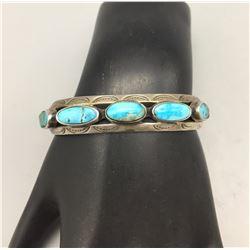 Mid Century Five Stone Turquoise Bracelet