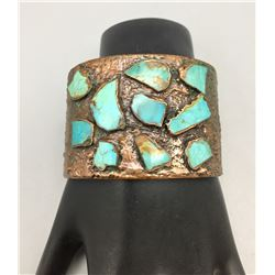 Unique Copper and Turquoise Bracelet