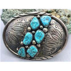 Six Stone Turquoise Belt Buckle