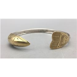 Northwest Coast 18K and Sterling Silver Bracelet