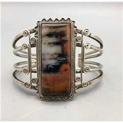 Sterling Silver and Petrified Wood Bracelet