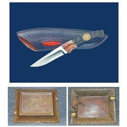 Bronze Ashtray and Knife