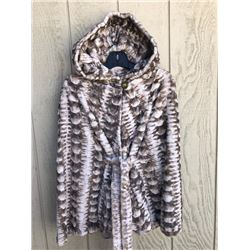 Golden White Sheared Mink Hooded Cape