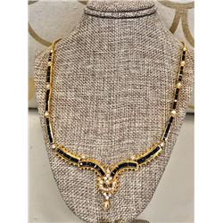 Yellow Gold Sapphire and Diamond Necklace