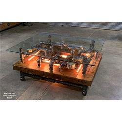 Steampunk Industrial Barnwood Coffee Table