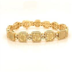 Natural Yellow Diamond and White Diamond Bracelet