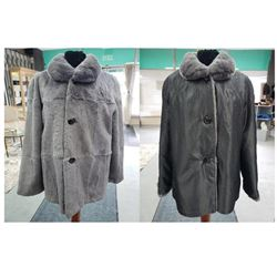 Grey Sheared Rex Rabbit Jacket
