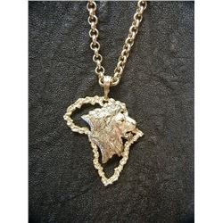Lion Head Profile in the Map of Africa Pendant