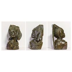 """The Chief"" Rare Verdite Sculpture by Renowned Zimbabwean Master Sculptor James Tandi"