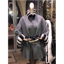 Women's Reversible Belted Cape with Chinchilla REX