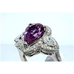 6.4 Carat Pink Sapphire and Diamond Ring