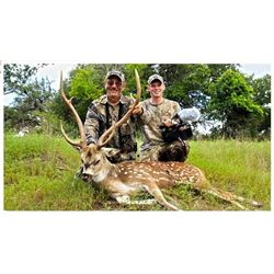 Combo Whitetail and Exotic hunt in Texas for two hunters.