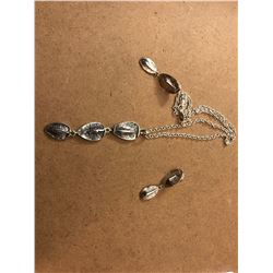 Patrick Mavros Jewelry- Silver Croc Hornback Necklace and Earrings