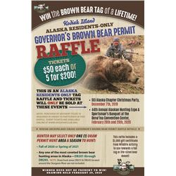 Kodiak Island (SB200) Alaska Governor's Residents Only Brown Bear Permit Raffle