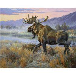 "Alaska: Artist Chip Brock's ""First Light on the Tikchik"" Original Oil Painting"