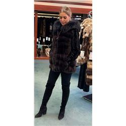 Alaska Fur: David Green Master Furrier's Lady's Hooded Mink & Silver Fox Vest