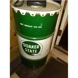 Vintage Quaker State Oil Drum, Net Wt. 120 Lbs