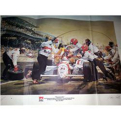 """Al Unser Jr. Signed 1994 Indy 500 Victory Print, """"Teamwork"""""""