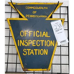 Vintage Official PA Metal Inspection Sign