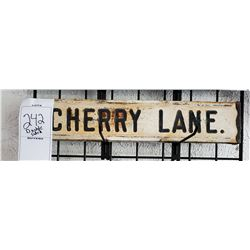 "Vintage Double Sided Metal Sign ""Cherry Lane"""