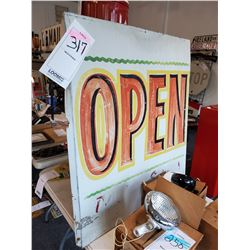 "Vintage Metal ""Open"" Sign large appox 3ft x 3ft"