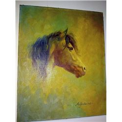 Original Hildred Goodwine Horse Painting, Oil on Canvas, Signed by Artist