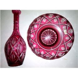 Genuine Handcut Lead Crystal Ruby Red Bottle and Bowl