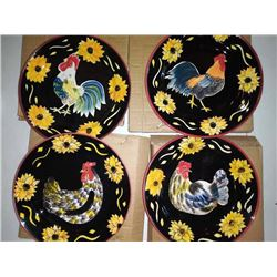 Set of Four Hand Painted Plates, Chickens w/ Sunflower Border