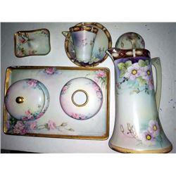 Antique Limoges Dresser Set (4 pcs) / Pitcher / Cup & Saucer, by IE & C Co. of Japan