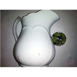 Large Antique Ironstone Pitcher, and Vintage Glass Marble Paper Weight