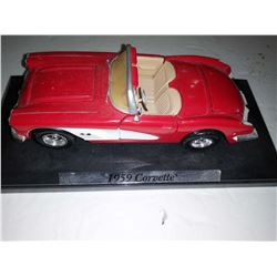 1959 Red Corvette Convertible 1/24 Scale Die Cast Model on Display Stand