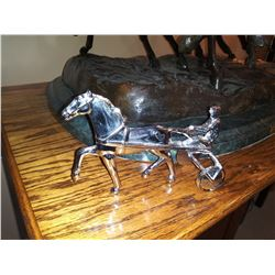 VINTAGE CHROME HARNESS HORSE AND SULKY  / DRIVER HEAVY