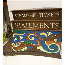 RARE LATE 1800s Solid Brass & Leaded Steamship Ticket Sign From A Ship