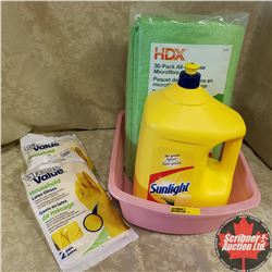 Basin Combo: Sunlight 3.6 Litre Jug, Latex Gloves (2 Pair x 2 Pkgs) & 30 Pack All Purpose Microfibre