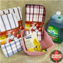 Basin Combo: Palmolive (5 Litre); Dish Cloths (1 Pkg); Kitchen Towels (2 Pks); Latex Gloves (1 Pkg)