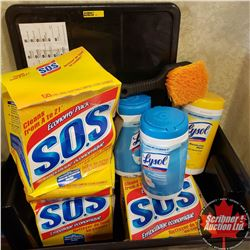 Tote Lot: 3 Boxes SOS (50 per Box); 3 Jugs Lysol Wipes & 1 Scrub Brush