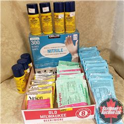 Tray Lot: Medical/Vet Supplies (Virkon Disinfectant, Revibe Oral Nutrient & Electrolyte, V-Lytes Wat