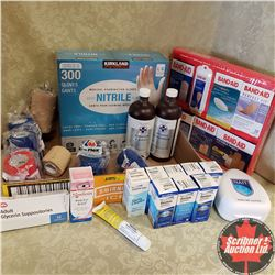 Tray Lot: First Aid Supplies (1 Box Large Medical Exam Gloves, 2 Bottles Peroxide, 8 Bottles Contact