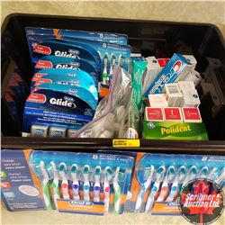 Tote Lot: Variety Dental Care/Hygiene Toothbrushes, Floss, Toothpaste, Polident, Toothpicks, etc